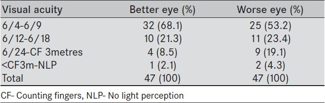 Table 3: Visual acuities in eyes of adult patients with leukemia.